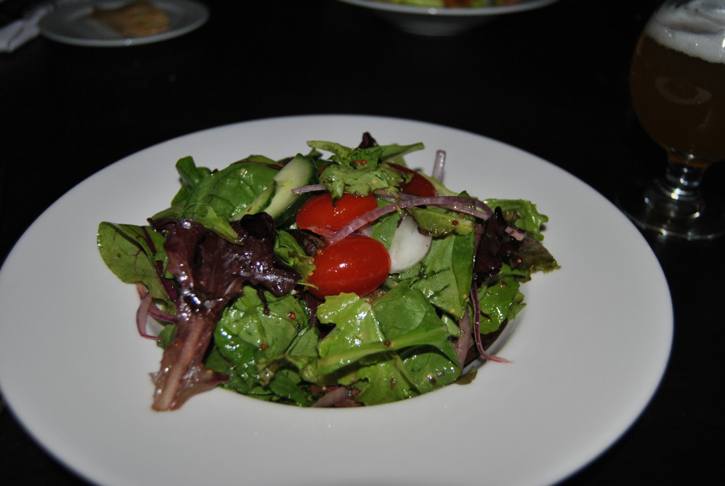 Salads make you think you are eating healthy. Here is the Red Owl Mixed Green Salad Baby tomatoes, cucumbers, radishes, red onion, sherry-oregano vinaigrette.