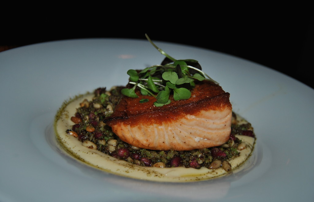My guest had to order the runner-up, the Seared Skuna Bay Salmon with Cauliflower puree, romanesco couscous with pine nuts and pomegranate seeds, micro cilantro and mint oil.