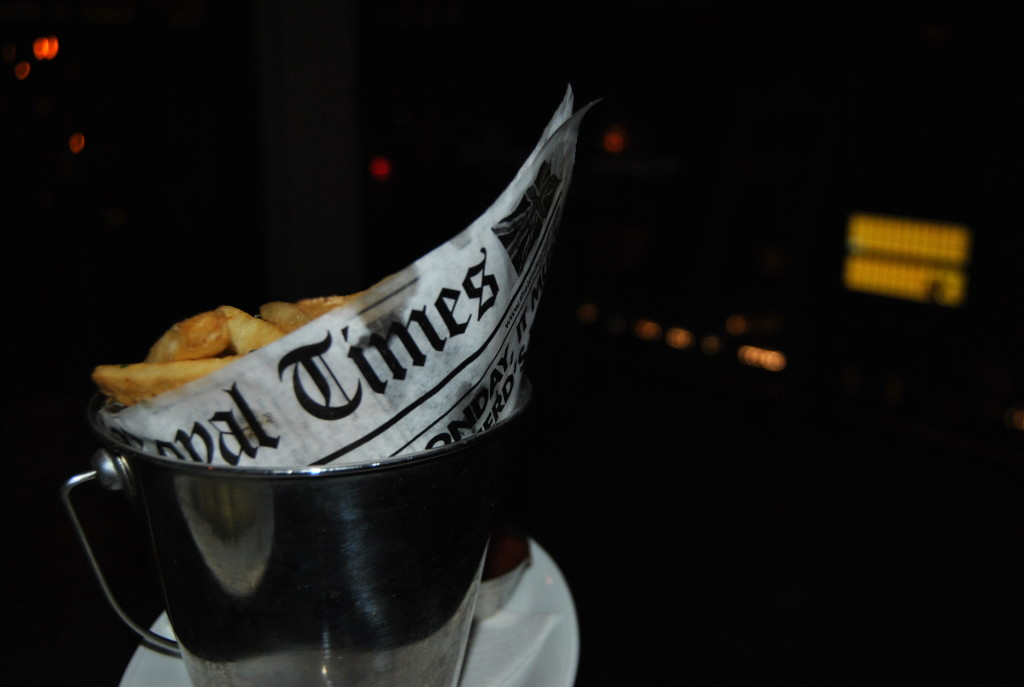 The newspaper nerd in me loved the news print paper covered in grease the fries came in.