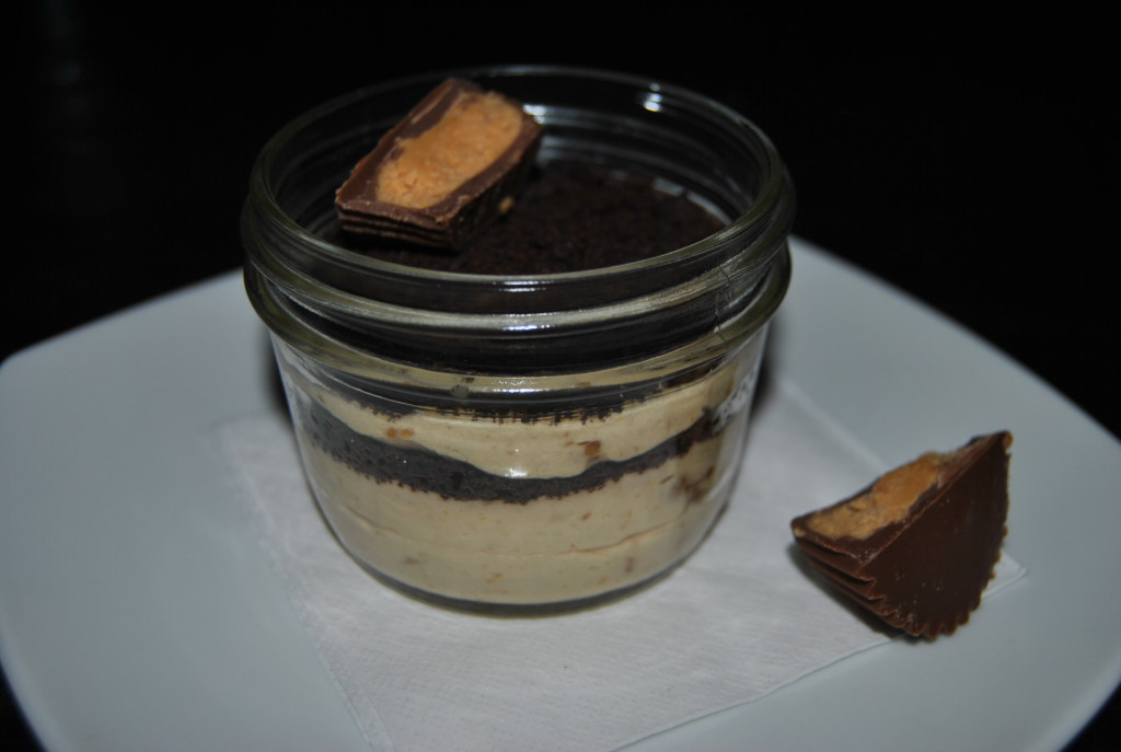 There's always room for dessert (it fits in the cracks my dad says). Peanut butter mousse with homemade peanut butter cups which really did melt in the mouth - without the waxy coating, just pure gooey heaven.
