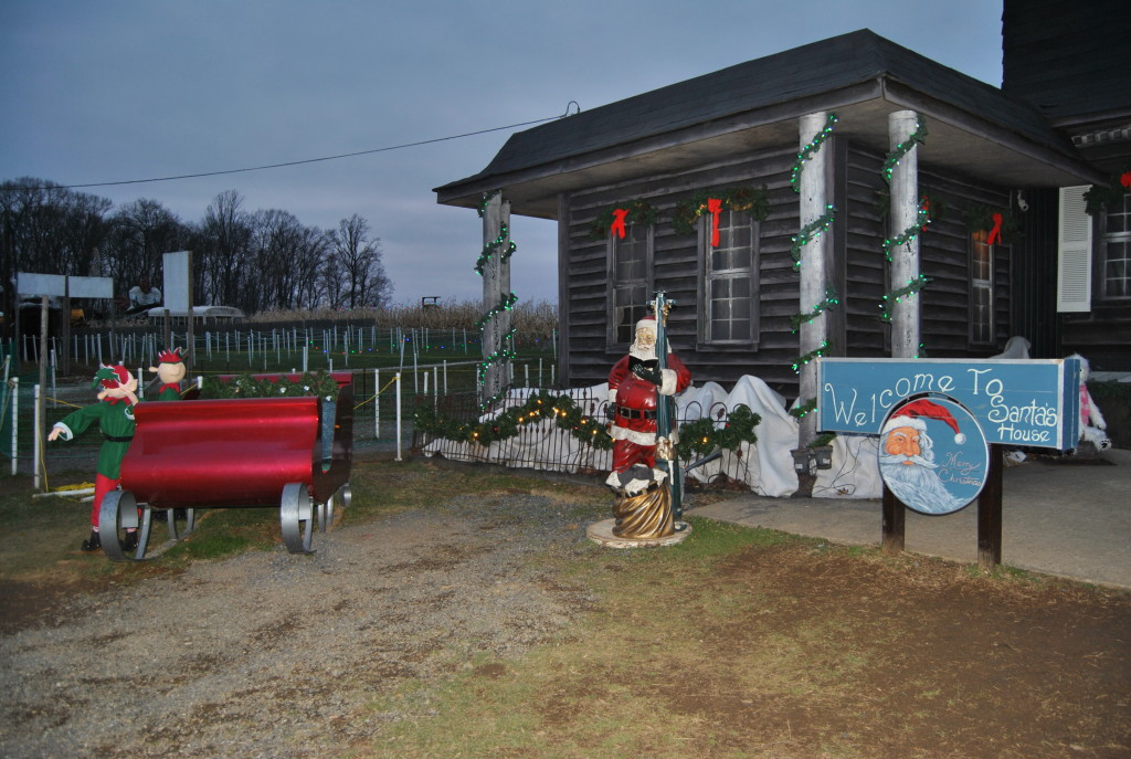 The haunted house all decked out Christmas style at Arasapha Farms.