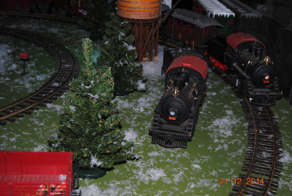 One of the trains off its track.